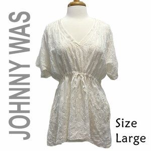 Johnny Was - Silk - Size Large Eyelet Embroidery